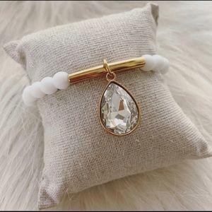 Matte White Jade Gold Bar Charm Bracelet
